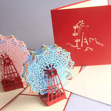 handcrafted 3d pop up ferris wheel greeting card birthday wedding