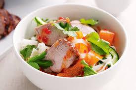 sticky pork with rice noodle salad