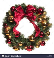 green leaved wreath with and gold baubles and