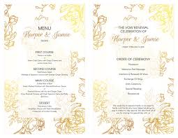 vow renewal ceremony program free gold floral vow renewal invitation wedding renewal ceremony