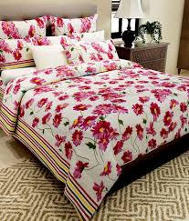 Buy Double Bed Sheets Online India Home Candy Pink Floral Cotton Double Bed Sheet With 2 Pillow