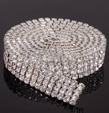 rhinestone cake mic hot sell 4 rows 1 yard diamante rhinestone cake banding trim