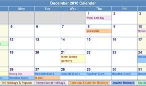 2016 december calendar holidays