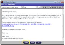 brokerwolf email template recommendation request setup