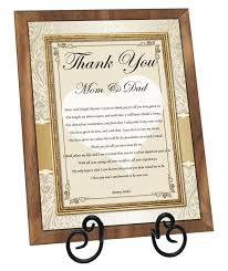 thank you wedding gifts parents thank you wedding gift plaque from groom