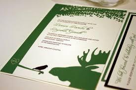 blue moose wedding band sample moose and bird pocketfold wedding invitation green brown