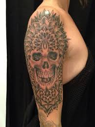scary skull designs on half sleeve for