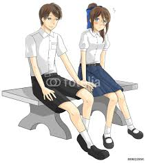 cute cartoon asian thai student couple in government high school create by wall sticker cute cartoon asian thai student couple in government high school uniform is expression teenage love as