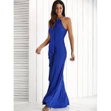 flounce long wedding party bridesmaid dress royal blue xl in
