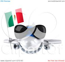 clipart of a 3d white airplane wearing sunglasses and flying with