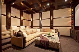 furniture stylish recliner and padded walls for home theatre design