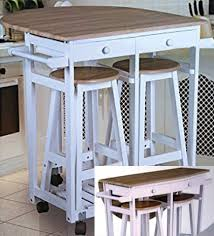 Extendable Bar Table Wooden Folding Breakfast Kitchen Bar Table With 2 Padded Seats