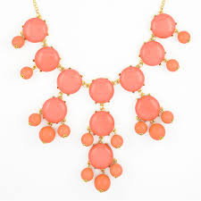 gold orange necklace images Soft coral bubble necklace gold tone statement bib necklace by jpg
