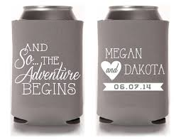 koozie wedding favor custom wedding can cooler wedding favor and so the