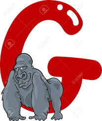 cartoon illustration of g letter for gorilla royalty free cliparts