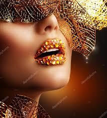luxury golden makeup beautiful professional holiday make up