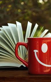 open book red smile mug android wallpaper free download