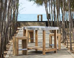Teak Bar Table Contemporary High Bar Table Teak Solid Wood Concrete