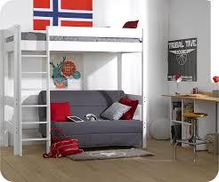 lit en hauteur avec canapé lit mezzanine enfant clay blanc avec matelas