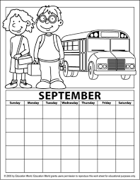 September Coloring Calendar Education World Coloring Pages For September