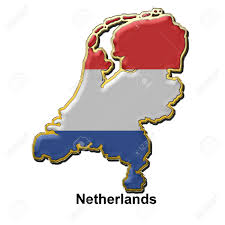 Holland Map Map Shaped Flag Of Holland In The Style Of A Metal Pin Badge Stock