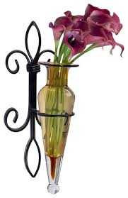 Hanging Glass Wall Vase Wall Hanging Amphora Flower Vase Sconce On Fleur Lys Iron Stand