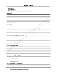 Fill Out Resume Online by 10 Best Images Of Blank Resume Format Word Microsoft Word Blank
