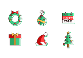 merry and happy new year 2018 free vector pack