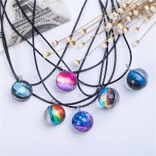 pattern crystal necklace images Planet crystal star ball glass galaxy pattern leather chain pendant ma jpg