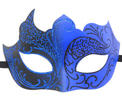 blue masquerade masks and black masquerade mask with glitter