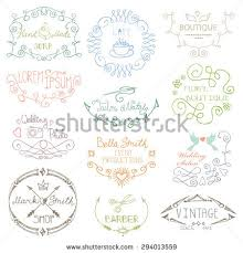 logo template doodle frame border logotype invitations card hand