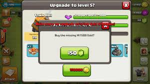 clash of clans using gems to buy more loot for upgrades even