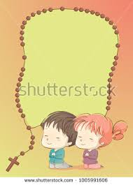 rosary for kids background illustration kids praying rosary frame stock vector
