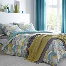 just contempo geometric chevron duvet cover set teal blue grey