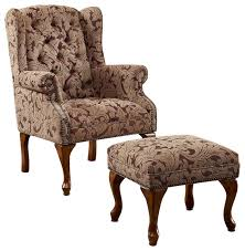 Traditional Accent Chair Wonderful Accent Chairs With Ottoman Traditional Tufted Wing Back