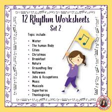 music theory 12 music rhythm worksheets set 2 by