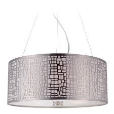 modern drum pendant light with white glass in polished steel