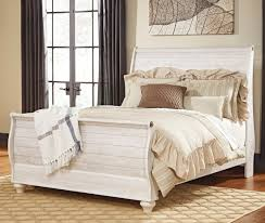 King Sleigh Bed Furniture Willowton King Sleigh Bed In Whitewash Local