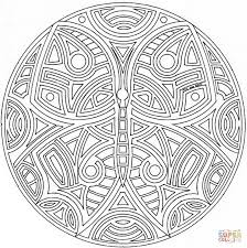 celtic mandala with butterfly coloring page free printable