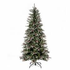 slim tree 240 cm flocked dunhill with pine cones