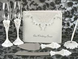 wedding guest book set eleganza lace collection wedding accessory set would make a