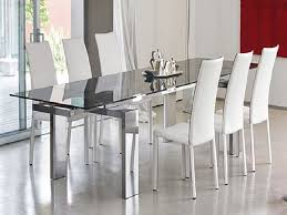 Plain Elegant Glass Dining Table And White Leather Chairs Ideas P - Modern glass dining room furniture