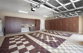 coco garage cabinets with swiss trax tile floor wide angle jpg
