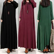 women vintage cotton tunic baggy long sleeve maxi dress long