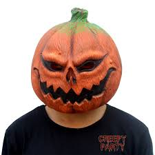pumpkin mask creepyparty deluxe novelty costume party