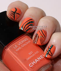marias nail art and polish blog abstract nail art on orange fizz