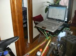 Diy Bike Desk Build Your Own Bike Desk For 4 99 Bungee Cord Laptop Stand And
