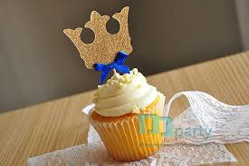 royal prince baby shower favors aliexpress buy 12pcs handmade blue crown cupcake toppers