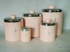 pink canisters kitchen c dianne zweig kitsch n stuff 1950s the atomic era pastel
