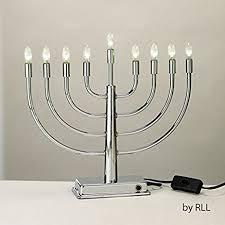 hanukkah menorah 11 5 lustrous silver led lighted flameless chanukah